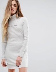 Criminal Damage High Neck Mini Dress With Distressing & Logo - Cream