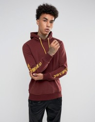 Criminal Damage Hoodie In Burgundy With Sleeve Print - Red