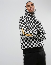Criminal Damage Hoodie In Checkerboard - White