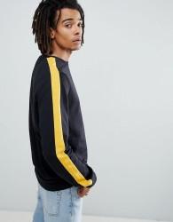 Criminal Damage Long Sleeve T-Shirt In Black With Side Stripe - Black