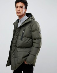 Criminal Damage longline puffer jacket in khaki - Green