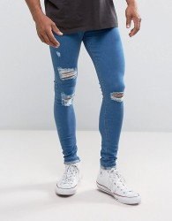Criminal Damage Muscle Fit Jeans In Blue With Distressing - Blue