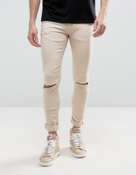 Criminal Damage Muscle Fit Jeans In Stone With Distressing - Stone