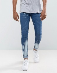Criminal Damage Muscle Fit Super Skinny Jeans With Bleach - Blue