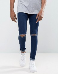 Criminal Damage Muscle Fit Super Skinny Jeans With Knee Rips - Blue