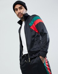 Criminal Damage Muscle Track Jacket In Black - Black