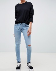 Criminal Damage Ripped Knee Skinny Jeans - Blue