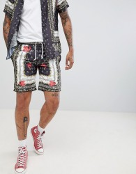 Criminal Damage Shorts In Black Baroque Print - Black