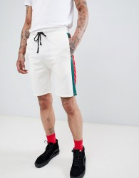 Criminal Damage shorts in white with side stripe - White