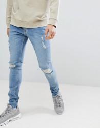 Criminal Damage Skinny Jeans In Blue - Blue