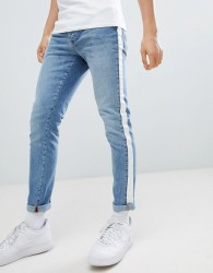 Criminal Damage Skinny Jeans In Blue With Taping - Blue