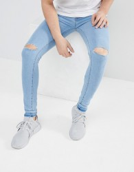 Criminal Damage Skinny Jeans in Ice Wash - Blue