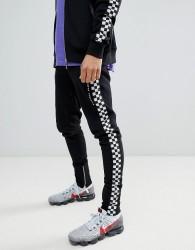 Criminal Damage Skinny Joggers With Checkerboard Stripe - Black