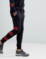 Criminal Damage Skinny Rose Joggers In Black - Black