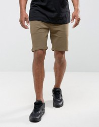 Criminal Damage Slim Fit Drawstring Shorts - Green
