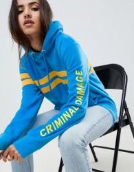 Criminal Damage Stripe Hoodie - Blue