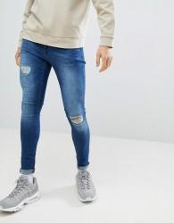 Criminal Damage Super Skinny Jeans In Dark Blue - Blue