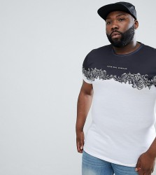 Criminal Damage T-Shirt In White With Baroque Panel Exclusive To ASOS - White
