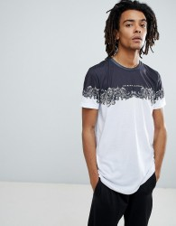 Criminal Damage T-Shirt In White With Baroque Panel - White