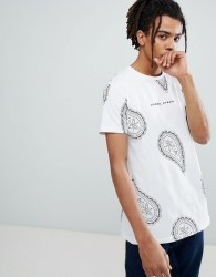 Criminal Damage T-Shirt In White With Paisley Print - White