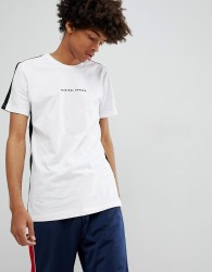 Criminal Damage T-Shirt In White With Side Stripe - White