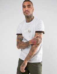 Criminal Damage T-Shirt In White With Tipped Sleeves - White