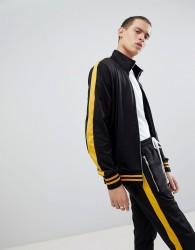 Criminal Damage Track Jacket In Black With Yellow Side Stripe - Black