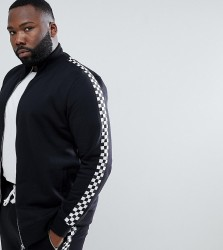 Criminal Damage Track Top With Checkerboard Stripe Exclusive To ASOS - Black