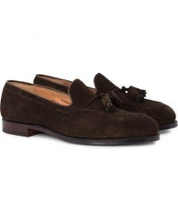 Crockett & Jones Cavendish Tassel Loafer Dark Brown Suede men UK8 - EU42 Brun