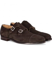 Crockett & Jones Lowndes Monkstrap Dark Brown Suede men UK10,5 - EU45 Brun
