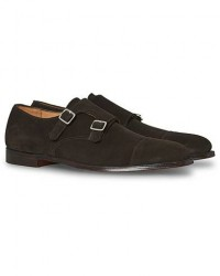 Crockett & Jones Lowndes Monkstrap Dark Brown Suede men UK7 - EU40,5 Brun