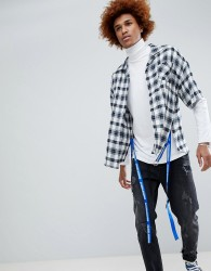 D-Antidote Oversized Check Shirt With Taping - White