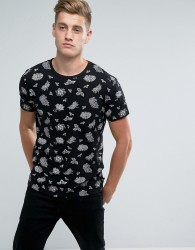 D-Struct All Over Floral Print T-Shirt - Black