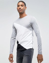 D-Struct Contrast Long Sleeve Top - Grey