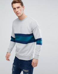 D-Struct Crew Neck Chest Stripe Jumper - Grey