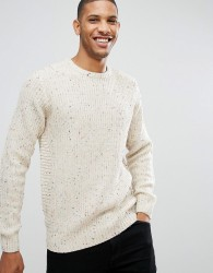 D-Struct Crew Neck Nep Jumper - White