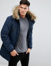 D-Struct Faux Fur Trimmed Parka Jacket - Navy