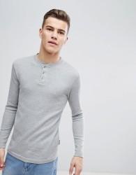 D-Struct Grandad Neck Long Sleeve Top - Grey