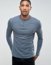 D-Struct Henley Long Sleeve Top - Blue