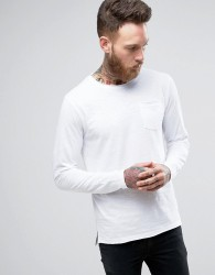 D-Struct Jersey Slub Raw Edge Long Sleeve Top - White