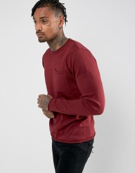 D-Struct Knitwear Fine Gauge Crew Neck Knit with Pocket - Red