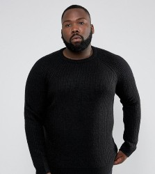 D-Struct PLUS Chunky Ribbed Crew Neck Jumper - Black