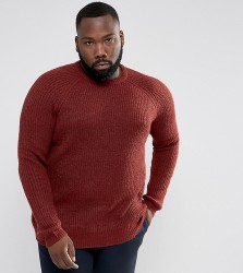 D-Struct PLUS Chunky Ribbed Crew Neck Jumper - Red