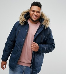 D-Struct PLUS Faux Fur Trimmed Parka Jacket - Navy