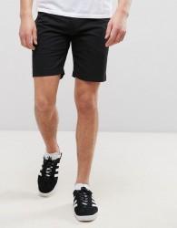 D-Struct Pull On Drawstring Canvas Shorts - Black