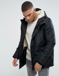 D-Struct Sherpa Lined Parka Jacket - Black