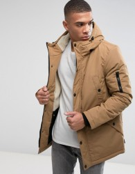 D-Struct Sherpa Lined Parka Jacket - Brown