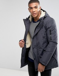 D-Struct Sherpa Lined Parka Jacket - Grey