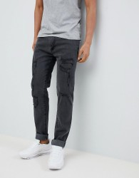 D-Struct Skinny Destroyed Ripped Jeans - Black