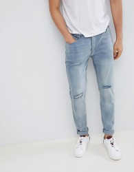 D-Struct Skinny Washed Knee Rip Jeans - Stone